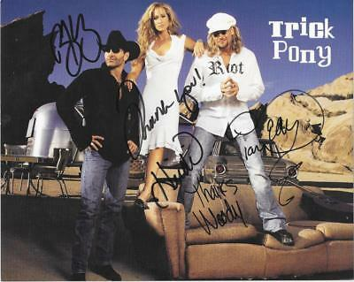 Trick Pony Country Music Stars Signed Group Photo 8X10 Autograph