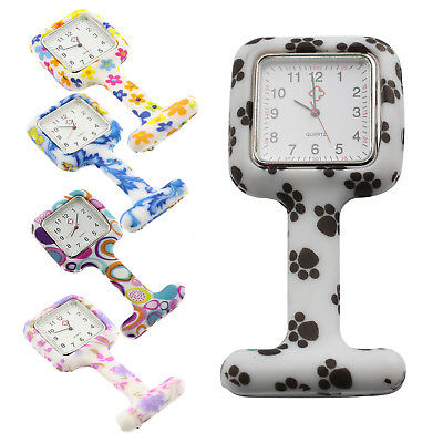 Colourful Flower Print With Square Nurse Watch Silicone Brooch Style Fob Watch
