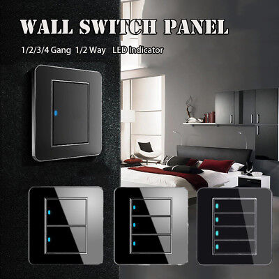 1/2/3/4 Gang 1/2 Way Modern Wall Light Switch Panel Push Buttons LED Indicator~