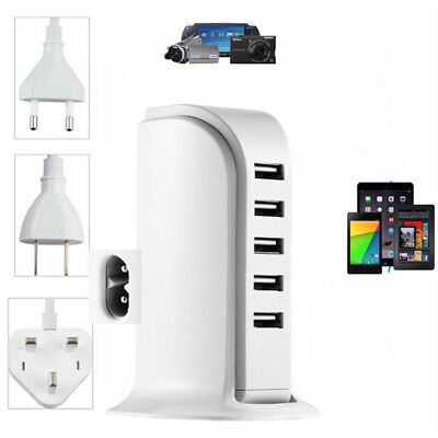5 Multi-Port USB Desktop Wall Charger Fast Charging Station Hub Power Adapter US