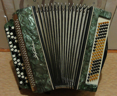 Vintage Ukrainian Button Accordion Bayan Ukraine