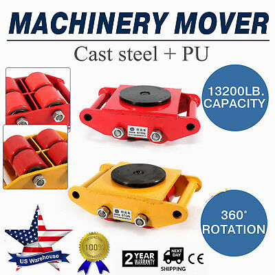 Industrial Machinery Mover with 360°Rotation Cap 13200lb 6T 4 Roller Dolly Skate