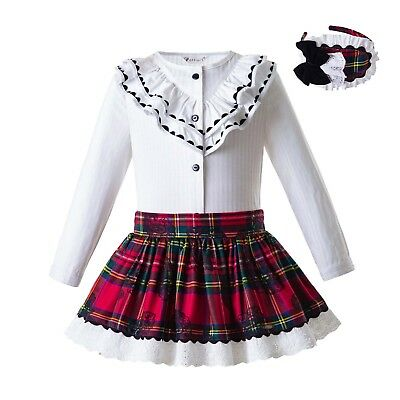 Girl Clothing Set Blouse+Tartan Skirt Set Christmas Party Pageant Spring Outfits