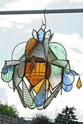 rare Antique French art deco 30's  Stained glass window  chandelier lantern