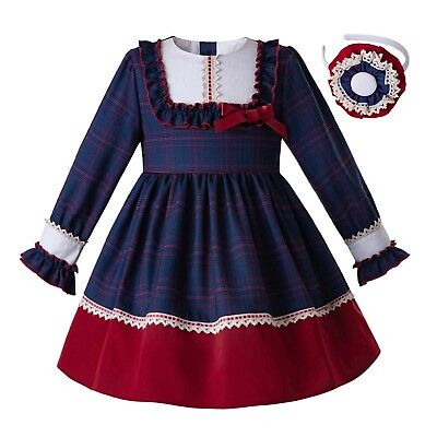 Girl Check Pleated Dresses Spring Autumn Long Long Sleeve Party Pageant Outfits