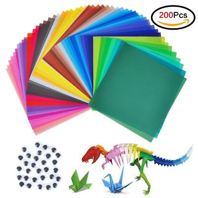 200 Sheets 50 Colours Origami Square Paper Craft Folding 20x20cm Double Sided AU