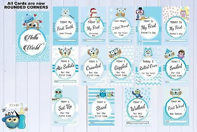 Baby Milestone Cards Owls Pack of 30 Cards Boys Blue Baby Shower Gift New Mum