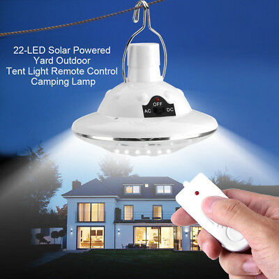 22LED Outdoor/Indoor Solar Lamp Hooking Camp Garden Lighting Remote Control LK