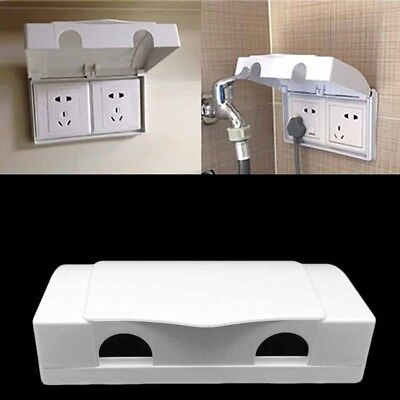 White Double Socket Protector Electric Plug Cover Baby Child Safety Box UK