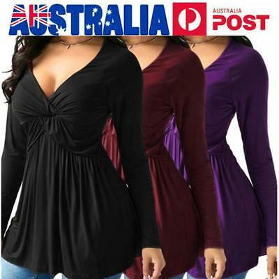 AU ! Plus Size Womens Sexy V Neck Loose Long Sleeve T-shirt Pleated Tops Blouses
