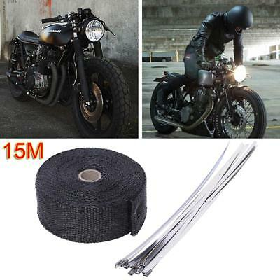 Exhaust Wrap Fitting Heat Resistant 2000F 15M*50mm +10X Stainless Steel Ties