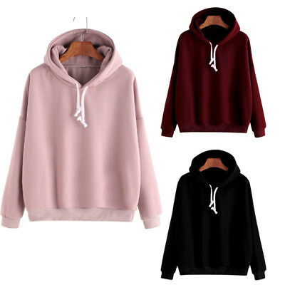 Men Women Hooded Sweatshirt Plain Hoodie Pullover Sweater Jumper Casual Love Top