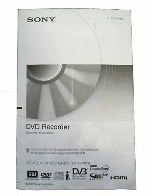 Sony Owner Manual Guide/Instruction for DVD Recorder RDR-HXD770/870/970/1070