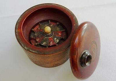 Antique Victorian Wood Miniature Roulette Wheel Gambling Device Game
