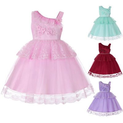 CN_ Girl Sleeveless Bowknot Solid Color Lace Party Performance Kids Dress Clev