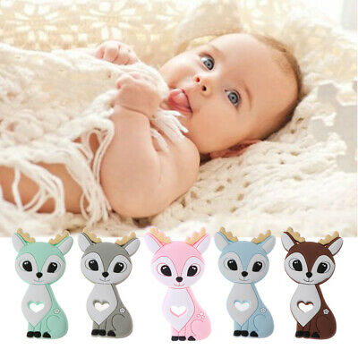 Sika Deer Baby Teether Cartoon Animal DIY Pacifier Clip Chain Silicone BPA Free
