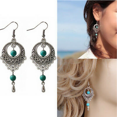 1 Pair Tibetan Silver Vintage Turquoise Dangle Womens Hot Drop Earring Jewelry