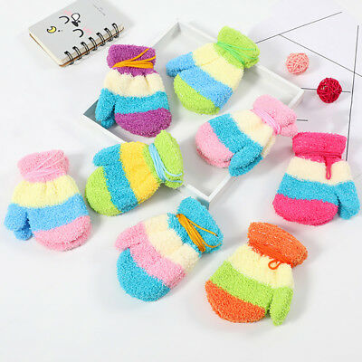 Cn_ Kids Baby Boys Girls Winter Gloves Neck Hanging Full Finger Mittens Color
