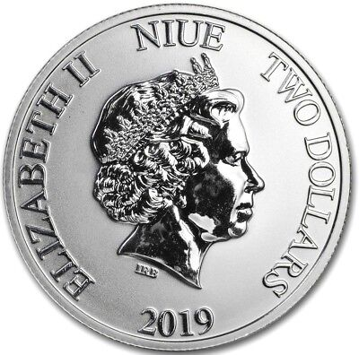 $2 Lunar 2019 Year of the Pig: 1 oz .999 Fine Solid Silver ArtRound (The 3 Pigs)