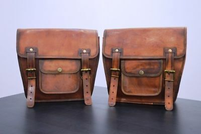Leather Saddlebags Motorcycle  Brown Leather 1 Pair