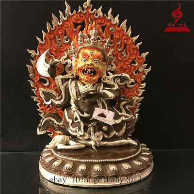 """14"""" China old copper gilt silver Coloured painting Two arm Mahakala statue"""