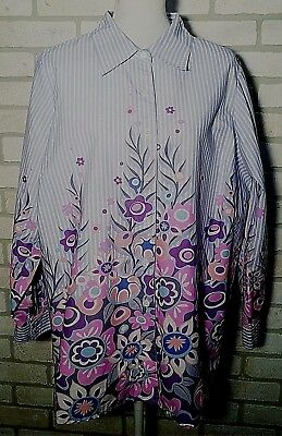 420dd376265bd Bob Mackie Women s Blue Striped Lavender Floral Wearable Art Button Down Top  1X