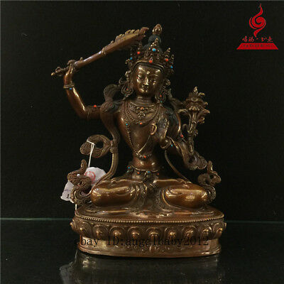 "9"" China old copper gilt inlay Turquoise Buddhism Bodhisattva Manjusri statue"