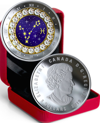 2019 Zodiac Pisces $5 1/4OZ Pure Silver Proof Canada 27mm Coin with Crystal