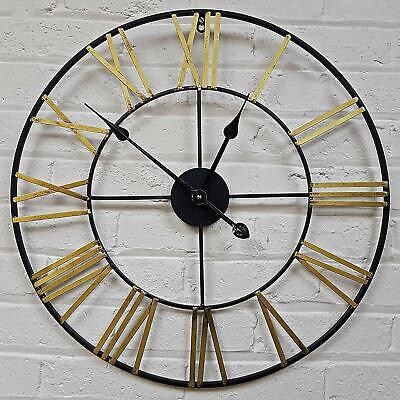 Large Traditional Roman Numerals Skeleton Garden Wall Clock Open Face Metal 60Cm