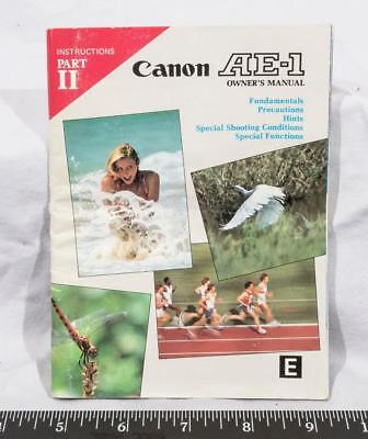 Vintage Canon AE-1 Camera Instructions Part II Manual tthc