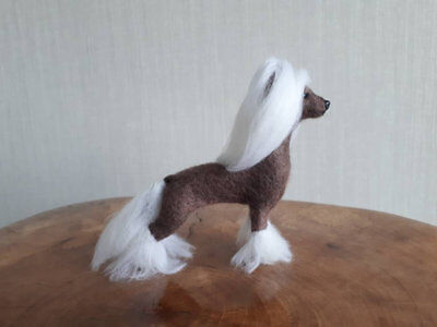 Chinedse Crested Dog Figurine needle felted Handmade OOAK