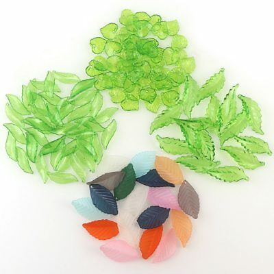 Transparent Green Leaf Beads Acrylic Beads For DIY Jewelry Making Craft New 50g