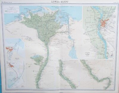 Map of Egypt, Cairo and River Nile 1922. LOWER EGYPT.  AFRICA. Original