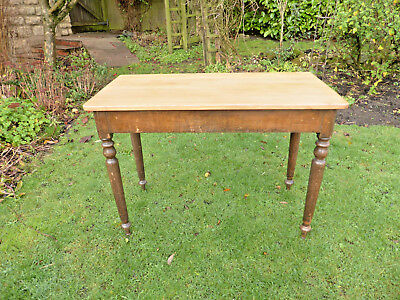 Victorian Pine Side Table. Polished Top on Turned Legs. Original Finish.
