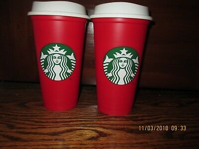 Lot of 2 NEW Starbucks Red Reusable 16 Oz Christmas Holiday 2018 Cup - Sold Out!