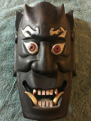 Vintage Japanese Hannya Horned Evil Demon Mask