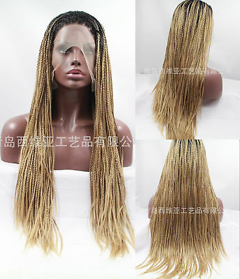 "24"" Braiding Lace Front Wig Box Braiding Full Head Synthetic Hair Ombre Blonde"