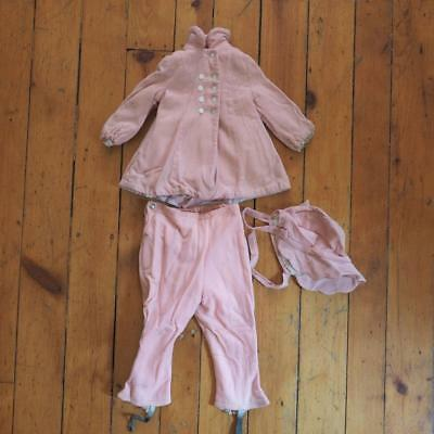Vintage Wool Pink Girls 3 Pc Winter Snow Suit 1950's 1960's