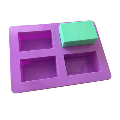 4 Cavity Rectangle Silicone Soap Making Mold DIY Cake Chocolate Baking Mould