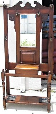 Antique Arts & Crafts Wood Walnut Entryway Hall Tree Stand Coat Rack Mirror