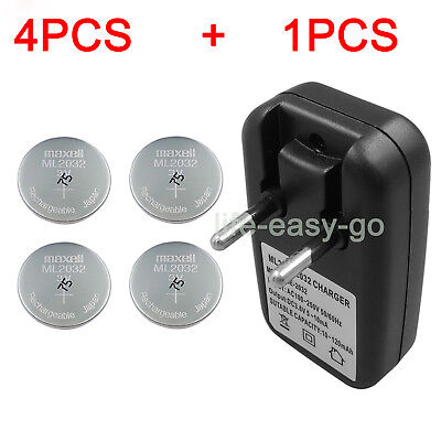 Rechargeable  Coin Cell 2032 2025 Charger  with 4X MAXELL 2032  Button Battery
