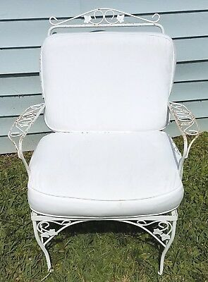 Vintage Woodard Wrought Iron Armchair with Cushions