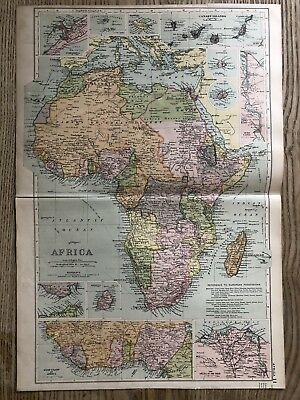 1908 Africa Original Antique Map By G.w. Bacon 110 Years Old