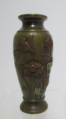 Japanese Bronze Mixed Metal Vase, Meiji Era