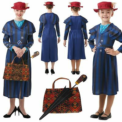 Mary Poppins Returns World Book Day Costume or Bag and Umbrella for Women, Girls