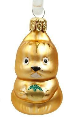 Gold Glass Chipmunk Christmas Ornament Holiday Decoration