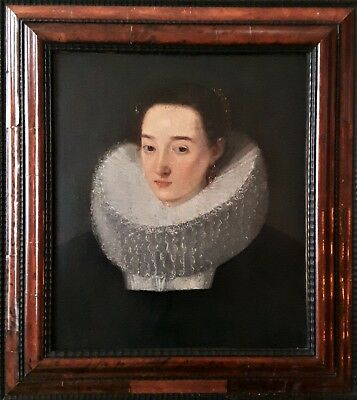 Very Fine Old Master Oil On Canvas Portrait Of A Lady C1620
