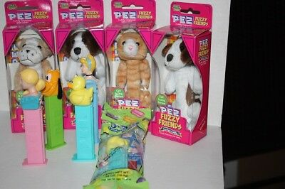 Pez Dispensers Lot of 9: 5-New & 4-pre-owned Brutis, Barney, Puff, Pluto, Duckie