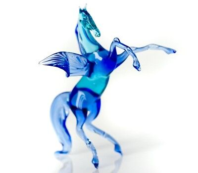 "Pegas Blue, Figurine, Blown Glass ""Murano"" Art Animal Miniature. Made in Russia"