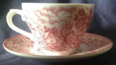 Broadhurst Ironstone Red /Pink & White vintage tea Cup & Saucer Constable Series